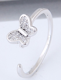 Fashion Silver Color Butterfly Shape Decorated Opening Ring