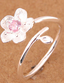 Elegant Silver Color Flower Shape Design Opening Ring