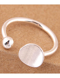 Elegant Silver Color Round Shape Design Opening Ring