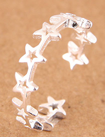 Fashion Silver Color Hollow Out Design Star Shape Opening Ring
