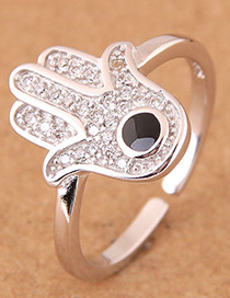 Fashion Silver Color Palm Shape Design Opening Ring