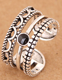 Vintage Silver Color Multi-layer Design Opening Ring