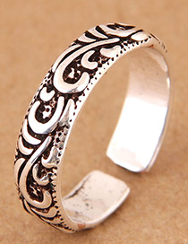 Vintage Silver Color Flower Pattern Decorated Opening Ring