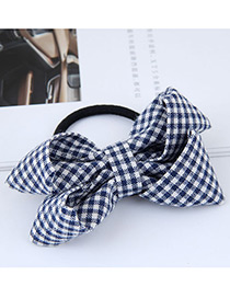 Fashion White+black Grid Pattern Decorated Bowknot Hair Band