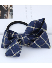 Fashion Blue Grid Pattern Decorated Bowknot Hair Band