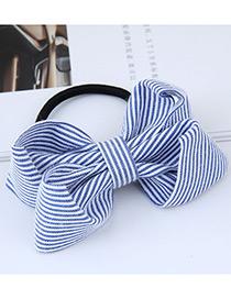 Fashion Light Blue Stripe Pattern Decorated Bowknot Hair Band