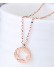 Fashion Rose Gold Hollow Out Design Star Shape Decorated Necklace