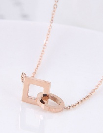 Fashion Rose Gold Geometric Shape Design Necklace