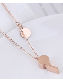 Fashion Rose Gold Whistle Shape Design Necklace