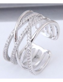 Fashion Silver Color Full Diamond Decorated Multi-layer Opening Ring