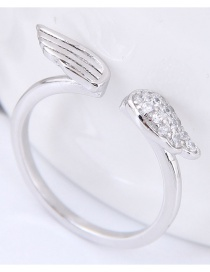 Fashion Silver Color Wing Shape Decorated Opening Ring