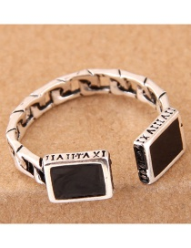 Vintage Silver Color Square Shape Decorated Opening Ring