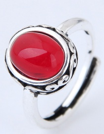 Vintage Red Oval Shape Decorated Ring