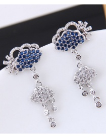 Fashion Silver Color Cloud Shape Decorated Earrings