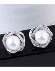 Fashion White+silver Color Pure Color Decorated Earrings
