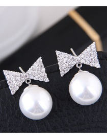 Fashion Silver Color+white Bowknot Shape Decorated Earrings