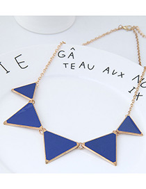 fashion Blue+gold Color Triangle Shape Decorated Necklace