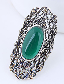 Elegant Green Gemstone Decorated Hollow Out Ring