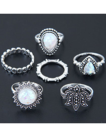 Fashion Antique Silver Round Shape Gemstone Decorated Ring(6pcs)