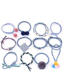 Lovely Blue Pearls&fuzzy Balls Decorated Hair Band(12pcs)