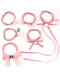 Lovely Pink Bowknot&pearls Decorated Hair Band(6pcs)