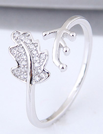 Sweet Silver Color Leaf Shape Design Opening Ring