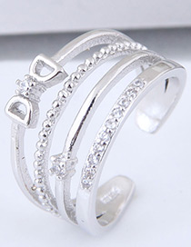 Fashion Silver Color Diamond Decorated Ring