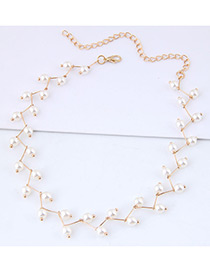 Simple Gold Color Pearl Decorated Necklace