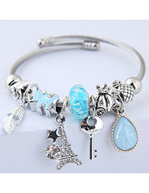 Elegant Blue Key&tower Pendant Decorated Bracelet