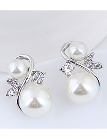Elegant Silver Color Pearls Decorated S Shape Earrings