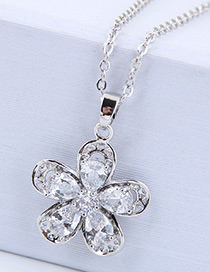 Fashion Silver Color Flower Shape Design Necklace
