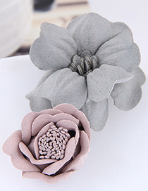 Fashion Gray+pink Flower Shape Decorated Hairclip