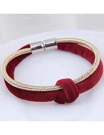 Fashion Red+gold Color Double Layer Design Bracelet