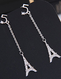 Fashion Silver Color Tower Shape Decorated Earrings