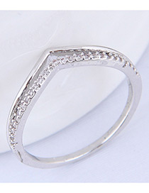 Simple Silver Color Pure Color Decorated Ring