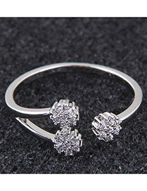 Simple Silver Color Flower Shape Decorated Ring