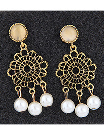 Fashion White Hollow Out Design Pure Color Earrings