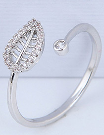 Elegant Silver Color Leaf Shape Decorated Ring