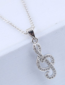 Elegant Silver Color Music Notes Shape Decorated Necklace