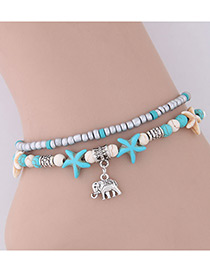 Elegant Blue+silver Color Starfish&elephant Pendant Decorated Anklte