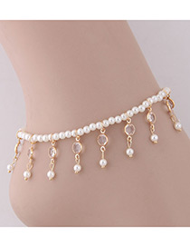 Elegant Gold Color Pearls Decorated Tassel Anklet