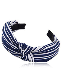 Fashion Navy+white Stripe Pattern Design Simple Hair Hoop