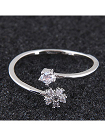 Elegant Silver Color Flowers Decorated Opening Ring
