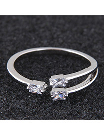 Elegant Silver Color Square Shape Diamond Decorated Ring