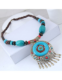 Fashion Blue Hollow Out Design Tassel Necklace
