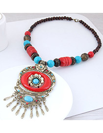 Fashion Red Flower Shape Decorated Tassel Necklace