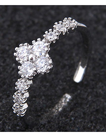 Fashion Silver Color Clover Shape Decorated Ring