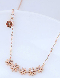 Fashion Rose Gold Flower Shape Decorated Necklace