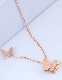 Fashion Rose Gold Butterfly Shape Decorated Necklace