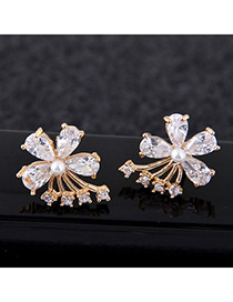 Sweet Gold Color Diamond Decorated Flower Shape Earrings